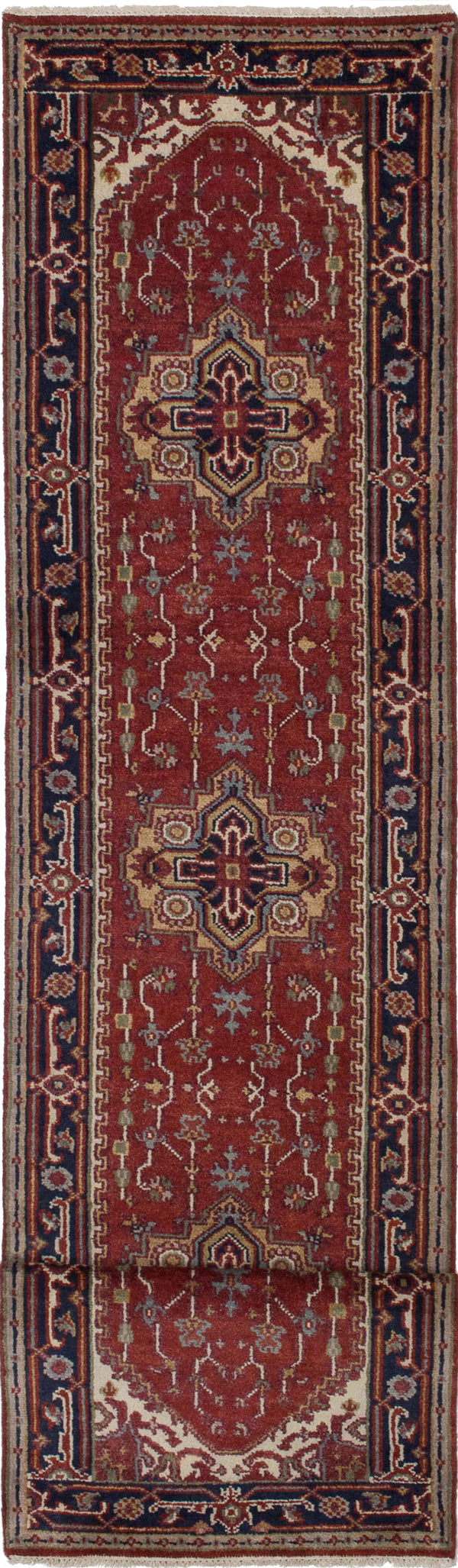 "Hand-knotted Indian Floral  Traditional Serapi-Heritage Runner rug  Dark Orange 2'7 x 15'10"" """