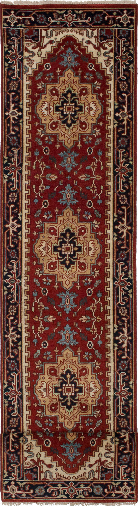 "Hand-knotted Indian Floral  Traditional Serapi-Heritage Runner rug  Dark Copper 2'6 x 11'8"" """