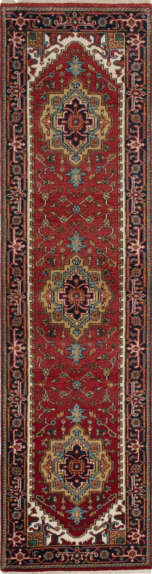 "Hand-knotted Indian Floral  Traditional Serapi-Heritage Runner rug  Dark Orange 2'7 x 10'2"" """