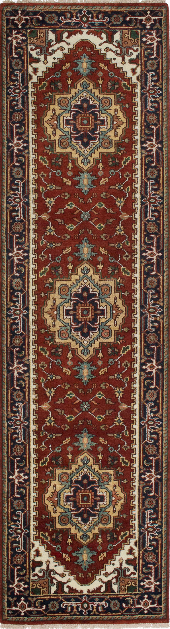"Hand-knotted Indian Floral  Traditional Serapi-Heritage Runner rug  Dark Orange 2'6 x 10'0"" """