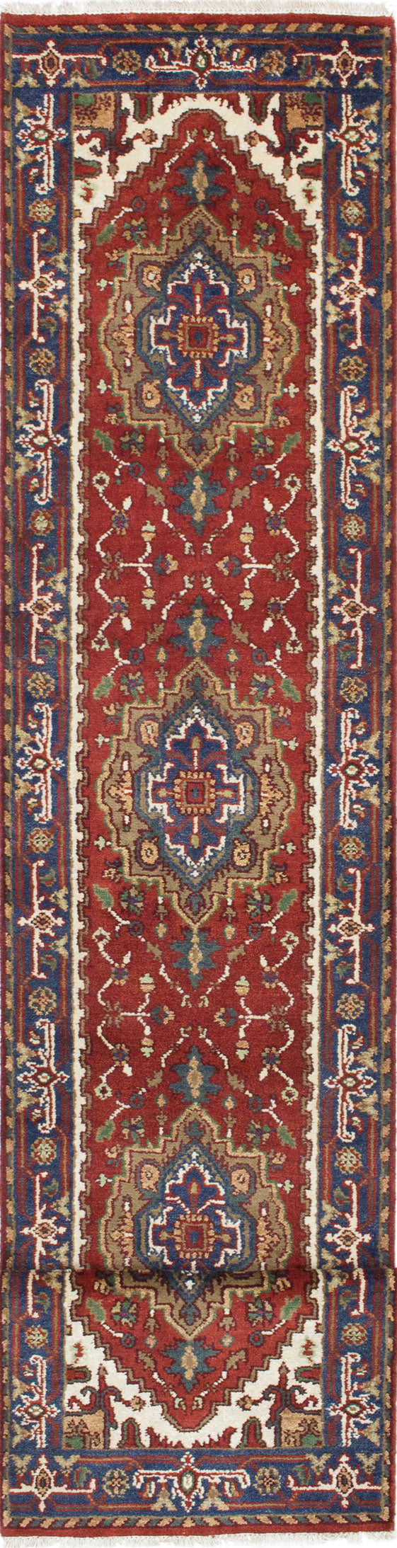 "Hand-knotted Indian Floral  Traditional Serapi-Heritage Runner rug  Dark Orange 2'6 x 15'9"" """