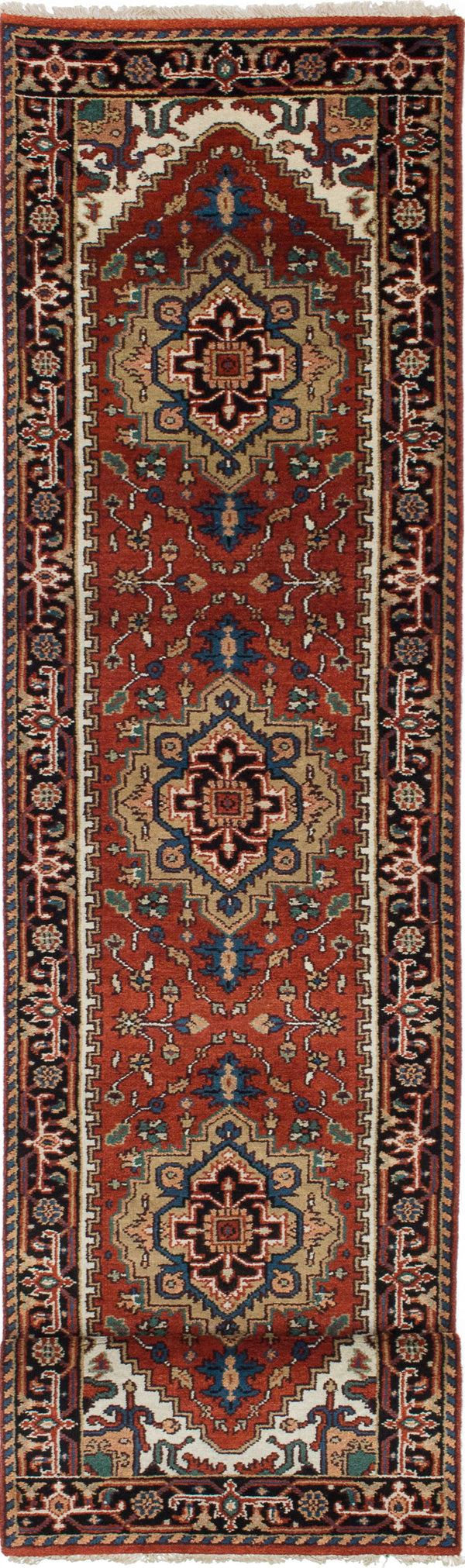 "Hand-knotted Indian Floral  Traditional Serapi-Heritage Runner rug  Dark Orange 2'6 x 11'10"" """