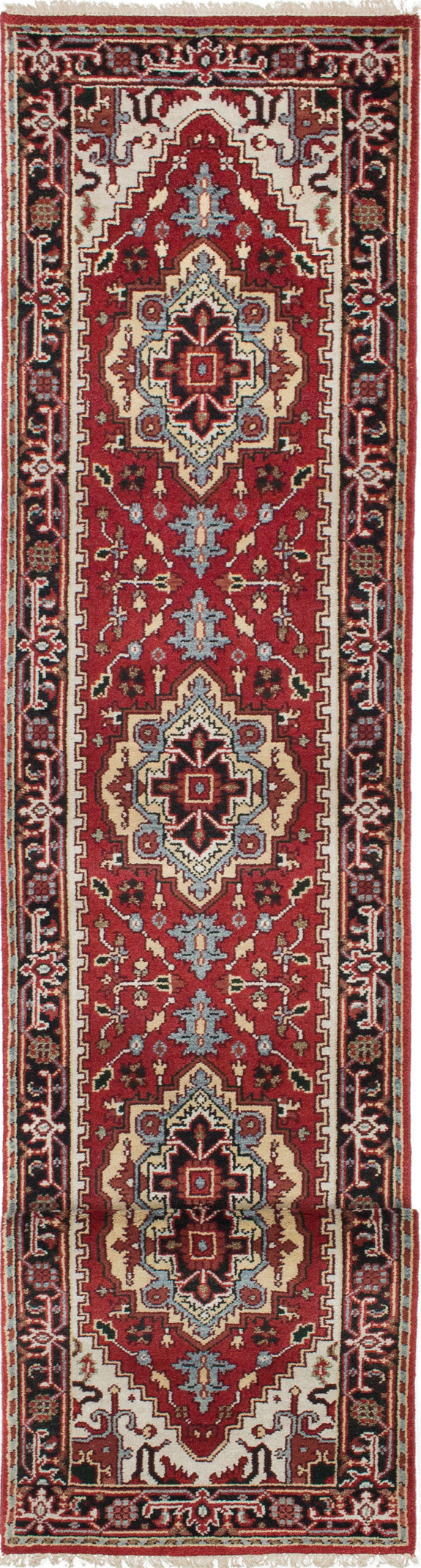 "Hand-knotted Indian Floral  Traditional Serapi-Heritage Runner rug  Dark Orange 2'5 x 13'10"" """