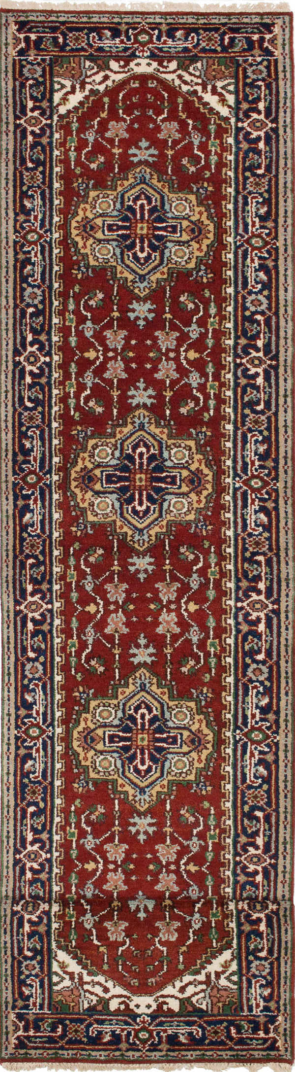 "Hand-knotted Indian Floral  Traditional Serapi-Heritage Runner rug  Dark Orange 2'7 x 16'0"" """