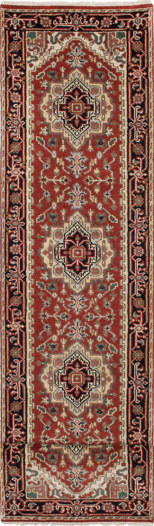"Hand-knotted Indian Traditional Serapi-Heritage Runner rug  Dark Orange 2'6 x 15'7"" """