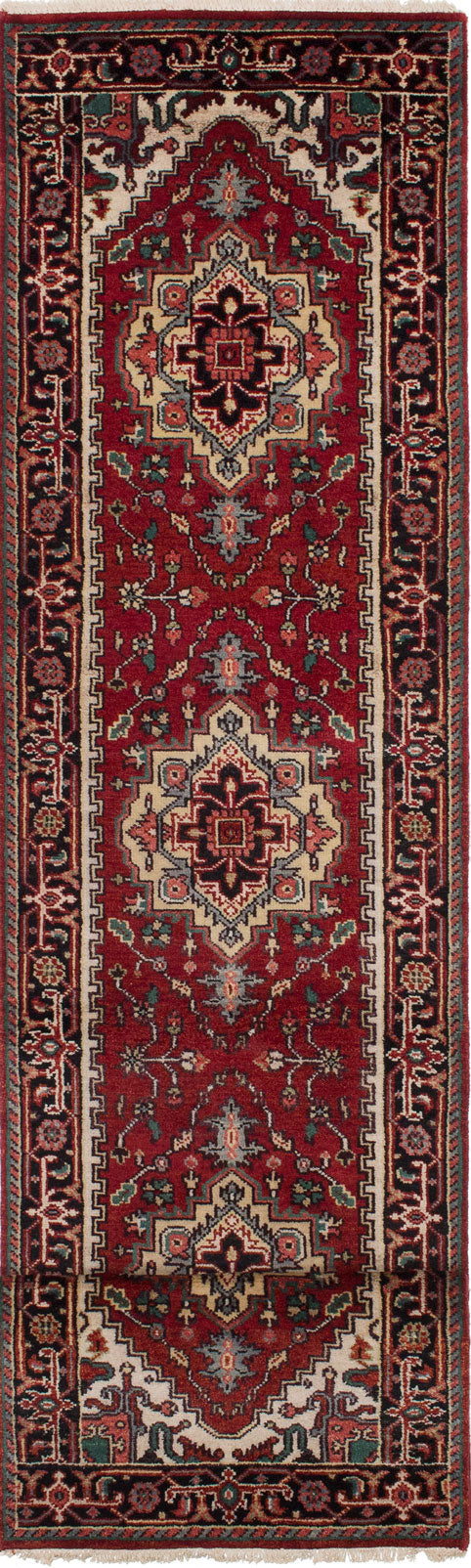 "Hand-knotted Indian Floral  Traditional Serapi-Heritage Runner rug  Dark Copper 2'7 x 11'9"" """