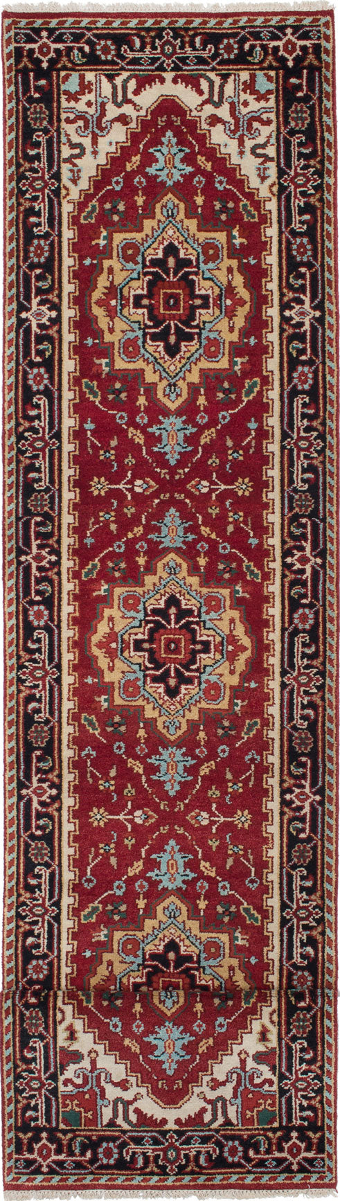 "Hand-knotted Indian Floral  Traditional Serapi-Heritage Runner rug  Dark Orange 2'7 x 16'1"" """