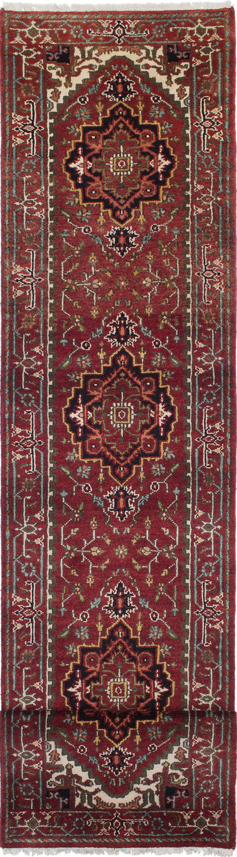 "Hand-knotted Indian Floral  Traditional Serapi-Heritage Runner rug  Light Burgundy 2'5 x 12'6"" """