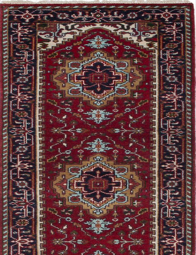 Hand-knotted Indian Floral  Traditional Serapi-Heritage Runner rug  Dark Red 2.7 x 14.2