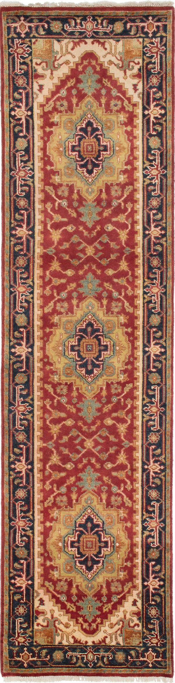 "Hand-knotted Indian Floral  Traditional Serapi-Heritage Runner rug  Dark Copper 2'6 x 10'3"" """