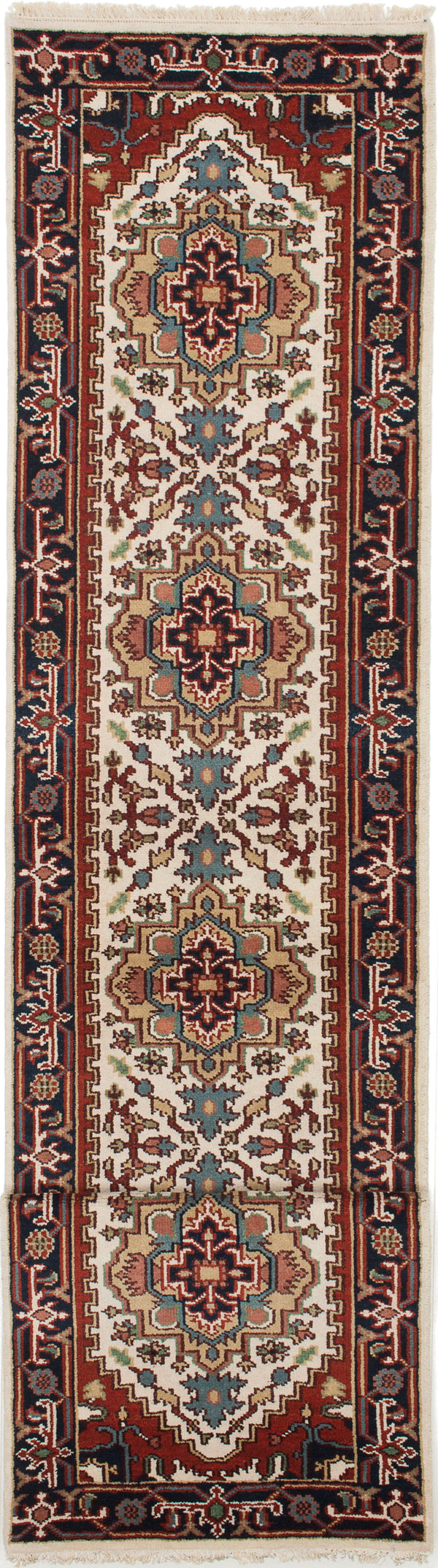 Hand-knotted Indian Floral  Traditional Serapi-Heritage Runner rug  Cream 2.6 x 14.1