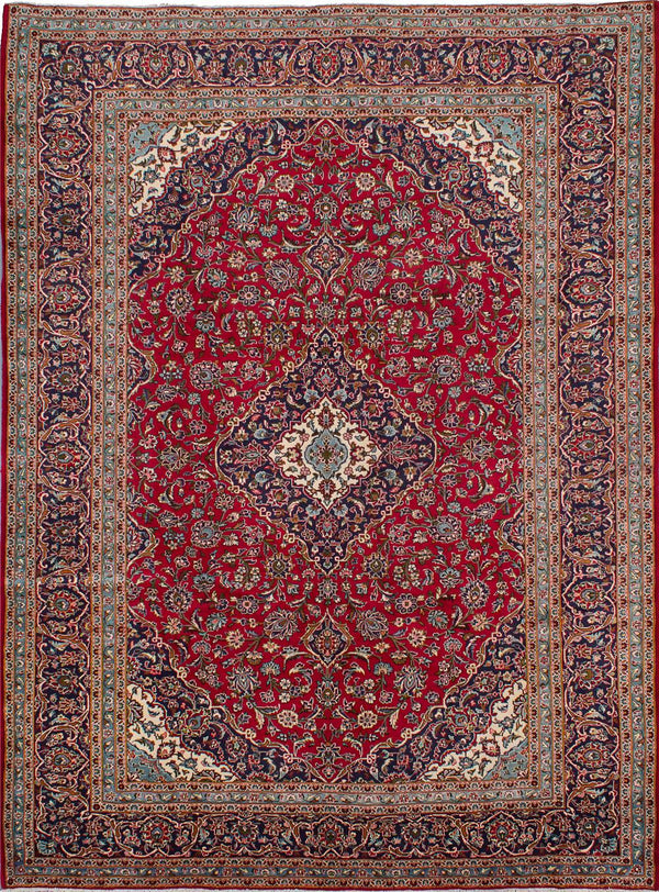 "Hand-knotted  Traditional Kashan Area rug  Dark Burgundy 9'9 x 13'2"" """