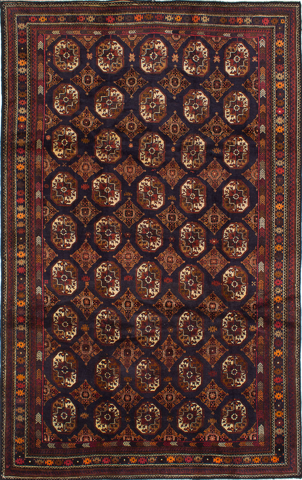 "Hand-knotted Afghan Traditional Finest-Rizbaft Area rug  Dark Navy 7'5 x 11'10"" """