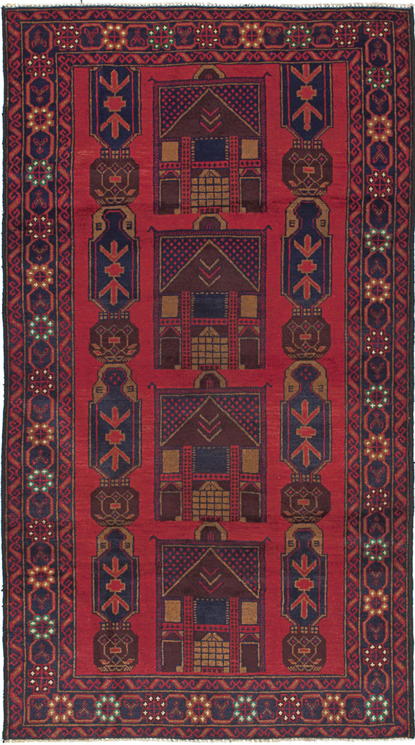 "Hand-knotted Afghan Traditional Finest-Rizbaft Area rug  Dark Burgundy 3'5 x 6'5"" """