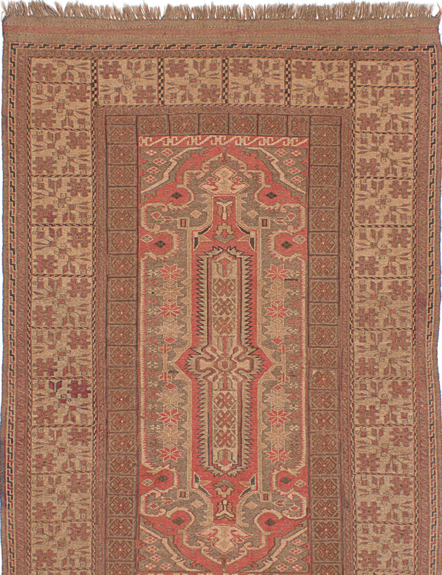 "Flat-weave  Flat-weaves & Kilims  Traditional Shirvan Area rug  Beige, Copper 4'9 x 7'7"" """