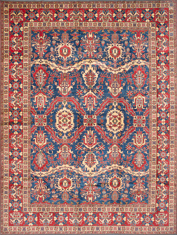 "Hand-knotted Afghan Traditional Finest-Gazni Area rug  Dark Burgundy, Navy Blue 13'0 x 16'3"" """