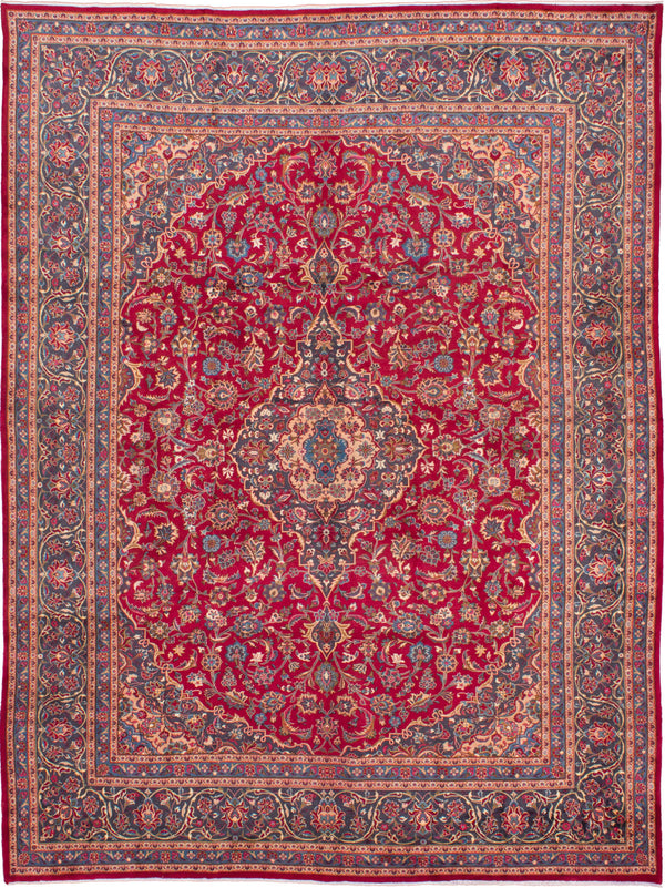 Hand-knotted  Vintage Kashmar Area rug  Dark Red 9.8 x 12.7