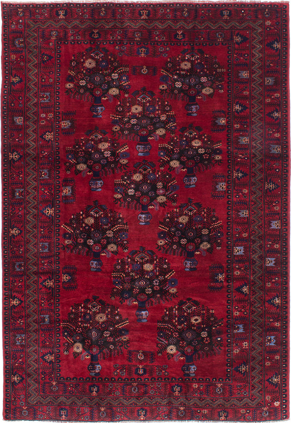 "Hand-knotted Afghan Floral  Traditional Finest-Rizbaft Area rug  Dark Burgundy 6'8 x 9'10"" """