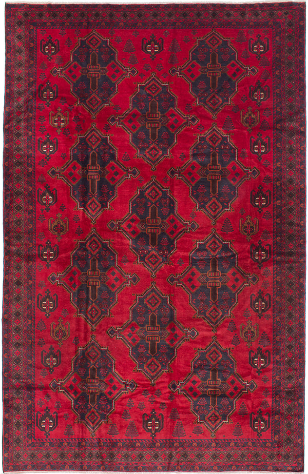 "Hand-knotted Afghan Geometric  Traditional Finest-Rizbaft Area rug  Dark Burgundy 8'2 x 12'7"" """
