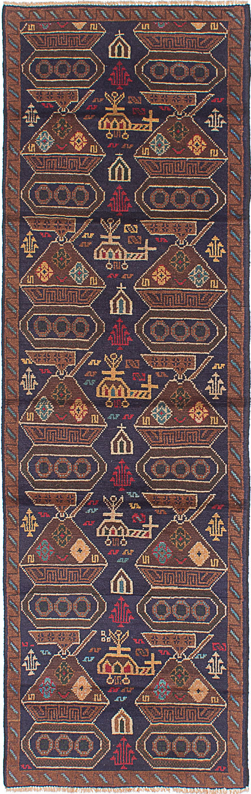 Hand-knotted Afghan Traditional Rare-War Runner rug  Dark Navy 2.8 x 8.8