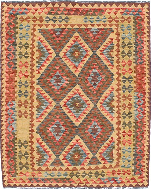 "Flat-weave Turkish Flat-weaves & Kilims  Traditional Istanbul-Yama-FW Area rug  Light Gold 5'4 x 6'5"" """