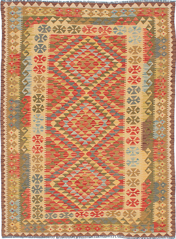 Flat-weave Turkish Flat-weaves & Kilims  Traditional Anatolian-FW Area rug  Dark Burgundy, Light Gold 5 x 6.8