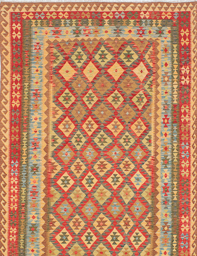 Flat-weave Turkish Flat-weaves & Kilims  Traditional Anatolian-FW Area rug  Dark Burgundy, Light Gold 6.5 x 10.1