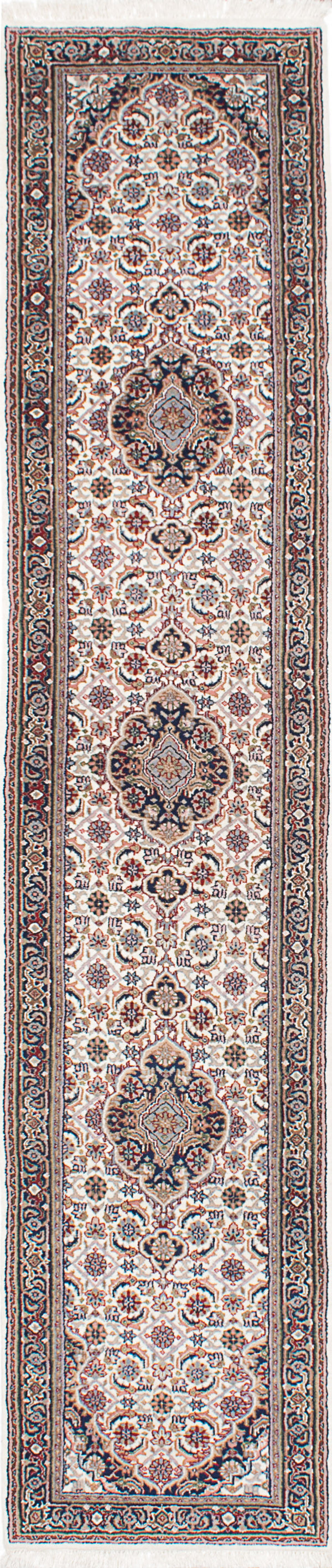 "Hand-knotted Indian Traditional Tabriz-Haj-Jalili Runner rug  Cream 2'7 x 11'9"" """