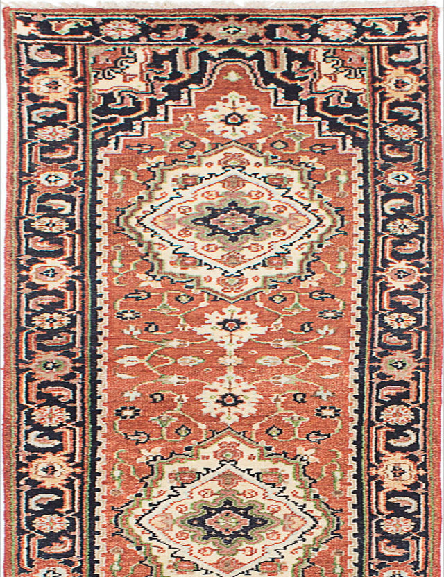 "Hand-knotted Indian Floral  Traditional Serapi-Heritage Runner rug  Copper 2'7 x 15'10"" """