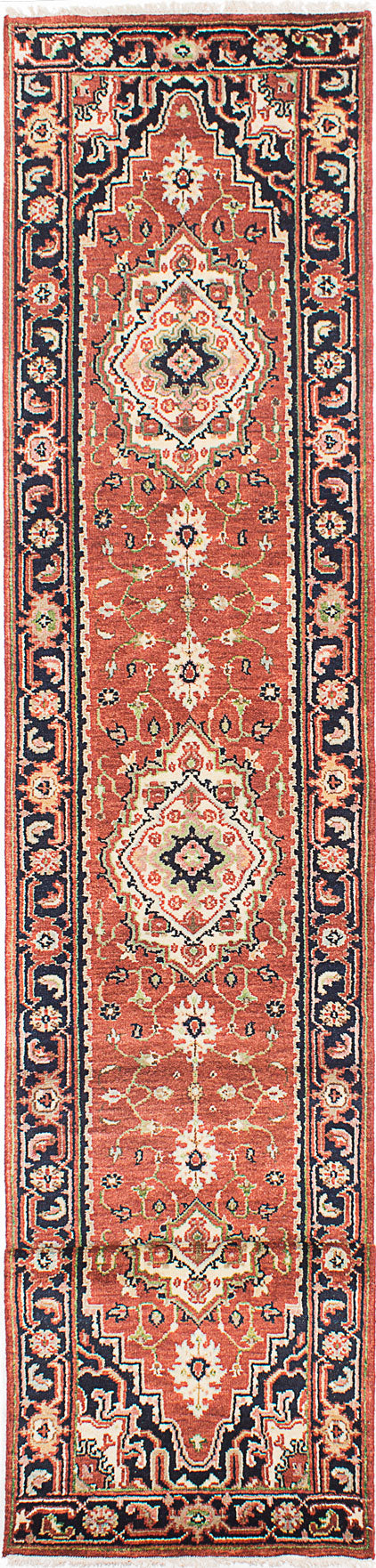 "Hand-knotted Indian Floral  Traditional Serapi-Heritage Runner rug  Dark Copper 2'7 x 16'1"" """