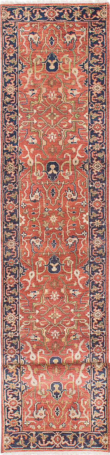 "Hand-knotted Indian Floral  Traditional Serapi-Heritage Runner rug  Dark Copper 2'8 x 16'0"" """