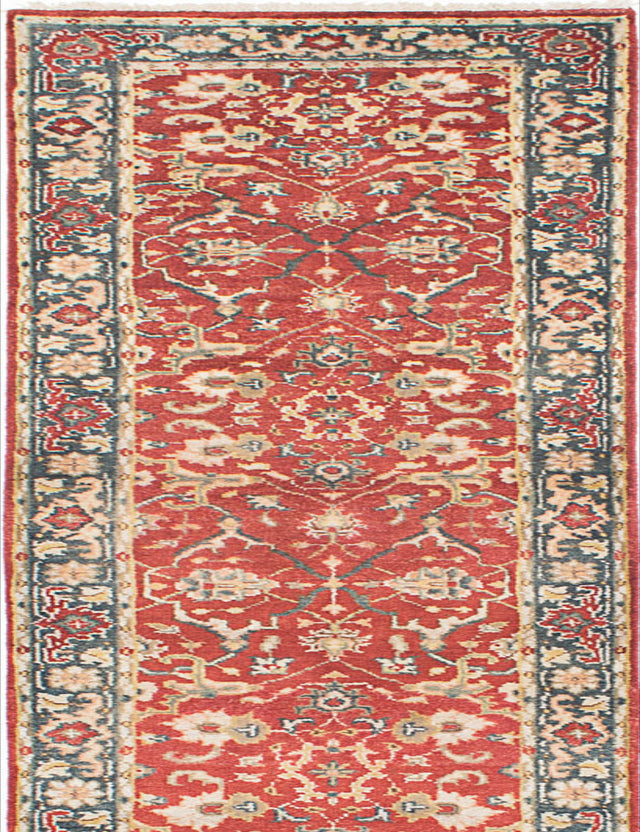 "Hand-knotted Indian Floral  Traditional Serapi-Heritage Runner rug  Dark Copper 2'7 x 15'7"" """