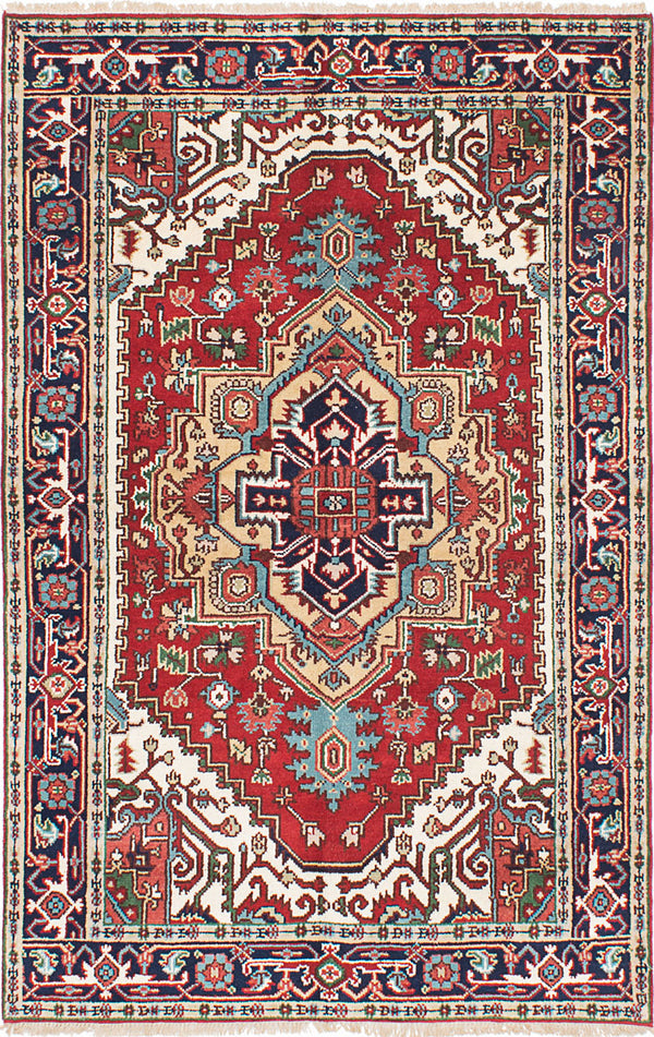 "Hand-knotted Indian Floral  Traditional Serapi-Heritage Area rug  Dark Copper 5'0 x 7'10"" """