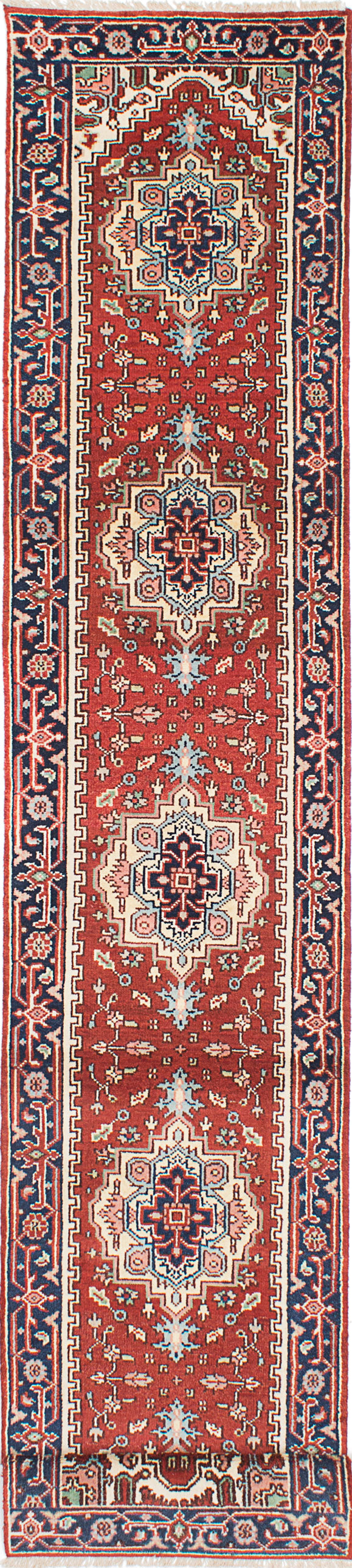 "Hand-knotted Indian Floral  Traditional Serapi-Heritage Runner rug  Dark Orange 2'6 x 16'0"" """