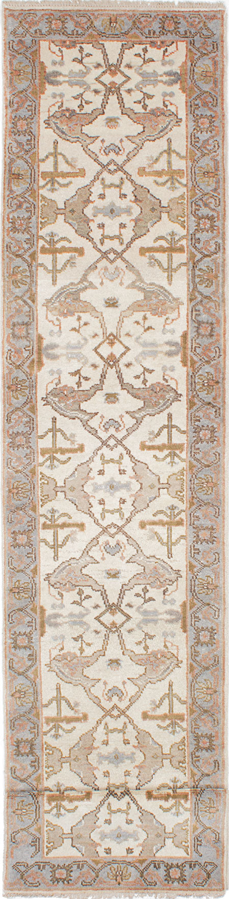 "Hand-knotted Indian Floral  Traditional Royal-Ushak Runner rug  Cream, Grey 2'9 x 13'10"" """