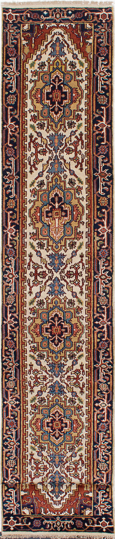 "Hand-knotted Indian Floral  Traditional Serapi-Heritage Runner rug  Copper, Cream 2'5 x 9'5"" """