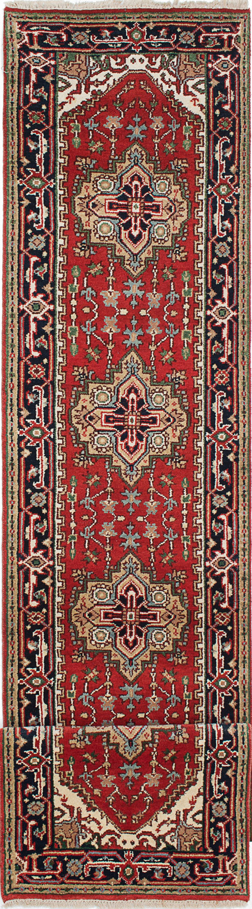 "Hand-knotted Indian Floral  Traditional Serapi-Heritage Runner rug  Dark Copper 2'6 x 19'3"" """