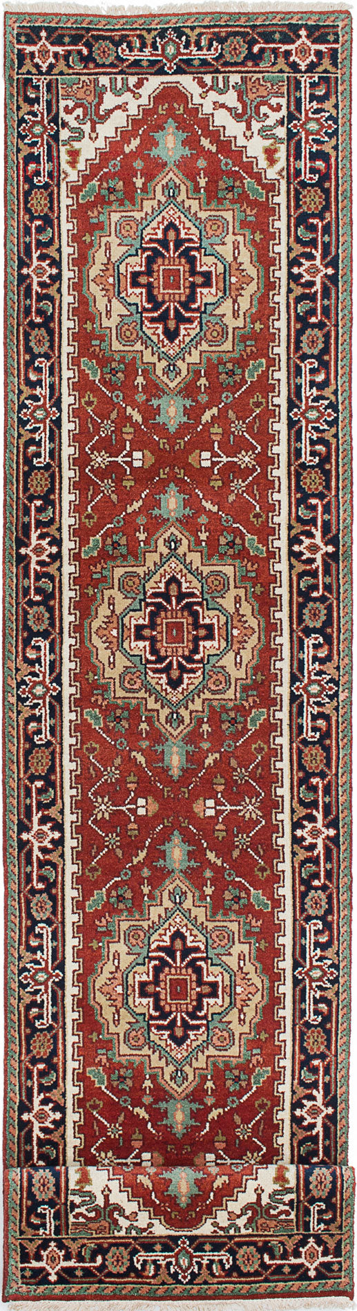 "Hand-knotted Indian Floral  Traditional Serapi-Heritage Runner rug  Dark Orange 2'6 x 11'9"" """