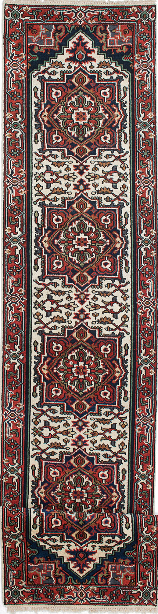 "Hand-knotted Indian Floral  Traditional Serapi-Heritage Runner rug  Dark Burgundy, Navy Blue 2'7 x 19'9"" """