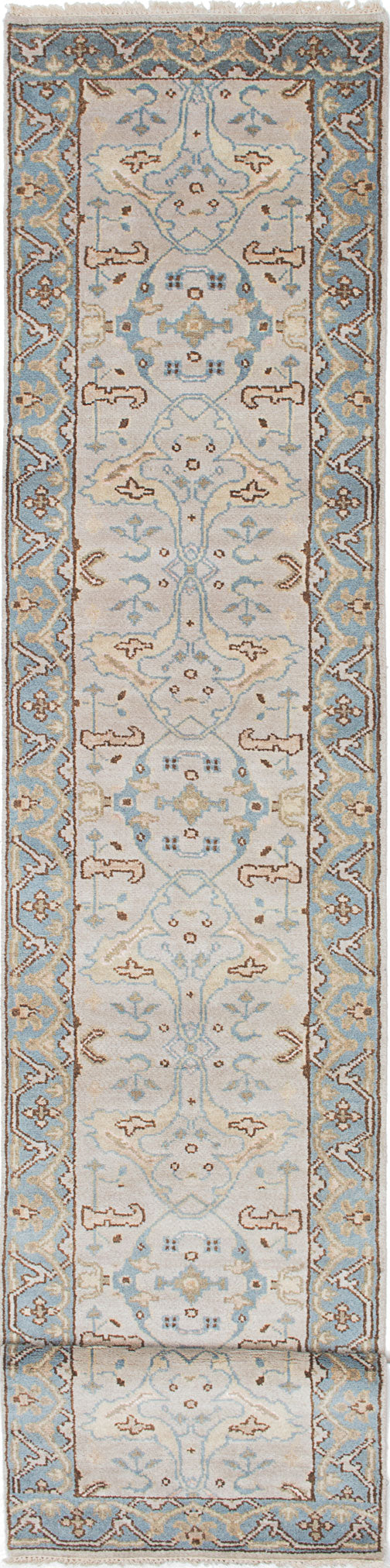 Hand-knotted Indian Floral  Traditional Royal-Ushak Runner rug  Light Blue , Light Grey 2.5 x 19.1