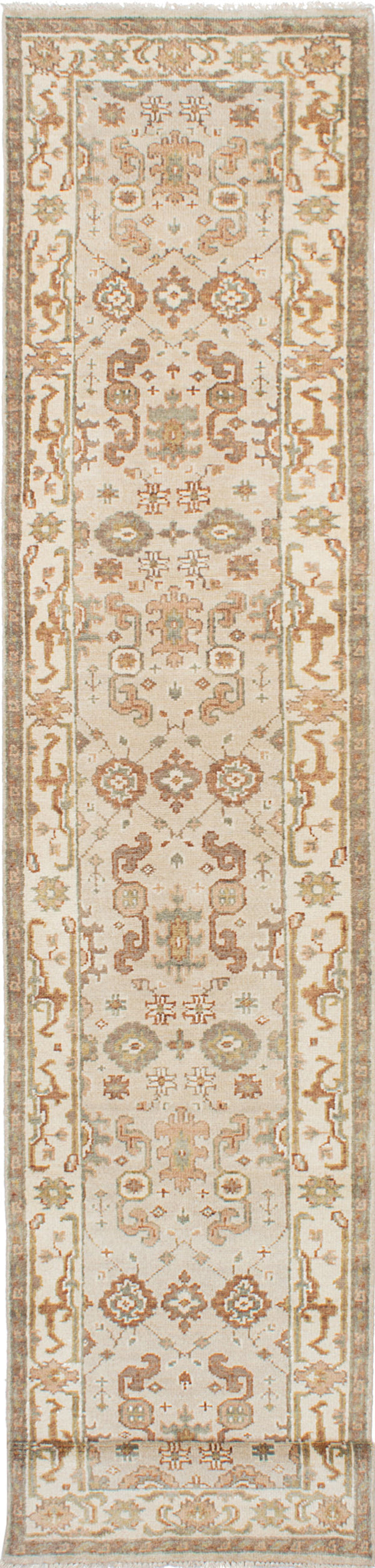 Hand-knotted Indian Floral  Traditional Royal-Ushak Runner rug  Beige, Light Grey 2.6 x 15.8