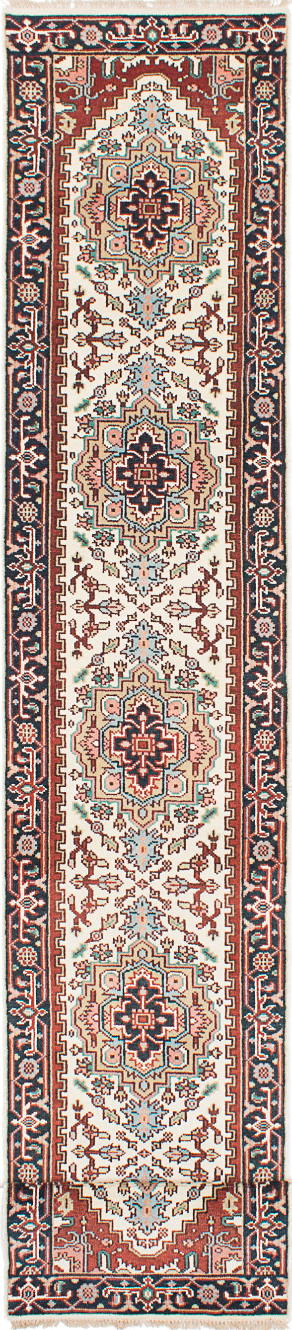 Hand-knotted Indian Floral  Traditional Serapi-Heritage Runner rug  Dark Copper, Light Cream 2.6 x 16.2
