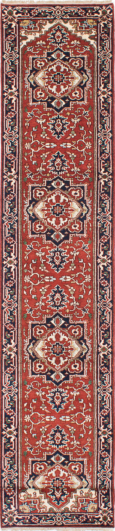 "Hand-knotted Indian Floral  Traditional Serapi-Heritage Runner rug  Dark Copper, Dark Navy 2'7 x 16'0"" """