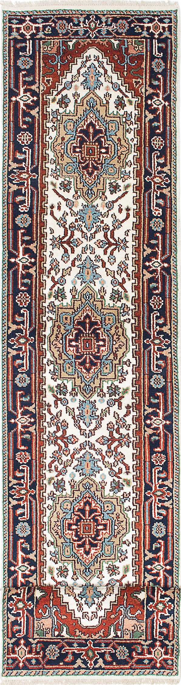 "Hand-knotted Indian Floral  Traditional Serapi-Heritage Runner rug  Dark Orange, Light Cream 2'5 x 12'2"" """