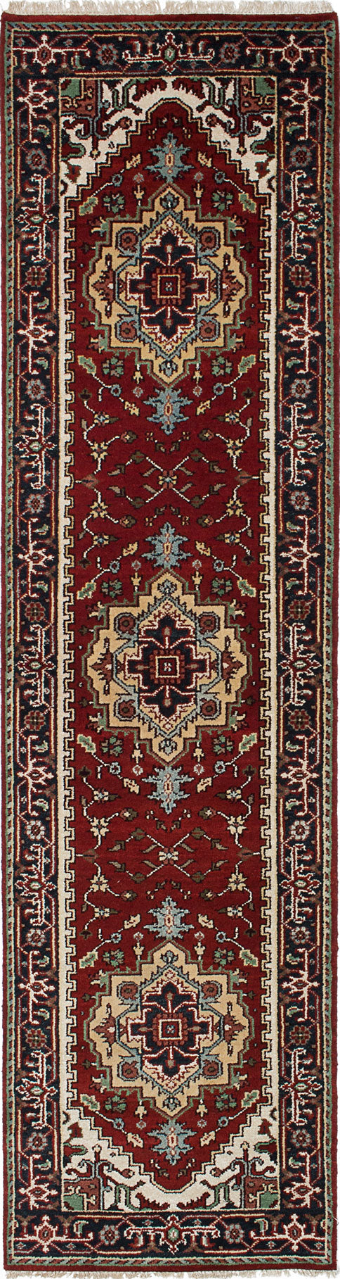 "Hand-knotted Indian Floral  Traditional Serapi-Heritage Runner rug  Dark Orange 2'7 x 9'8"" """