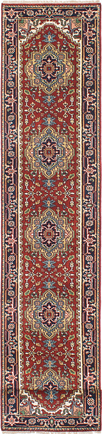 "Hand-knotted Indian Floral  Traditional Serapi-Heritage Runner rug  Dark Orange 2'7 x 19'6"" """