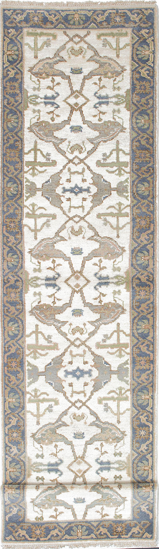 Hand-knotted Indian Floral  Traditional Royal-Ushak Runner rug  Grey, Light Yellow 2.8 x 11.9