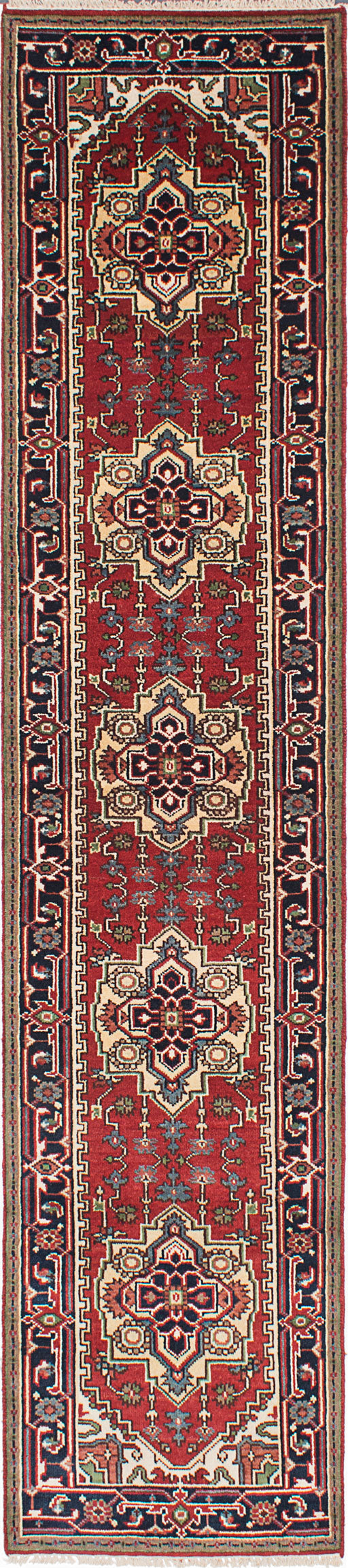 "Hand-knotted Indian Floral  Traditional Serapi-Heritage Runner rug  Dark Copper, Dark Navy 2'7 x 12'2"" """