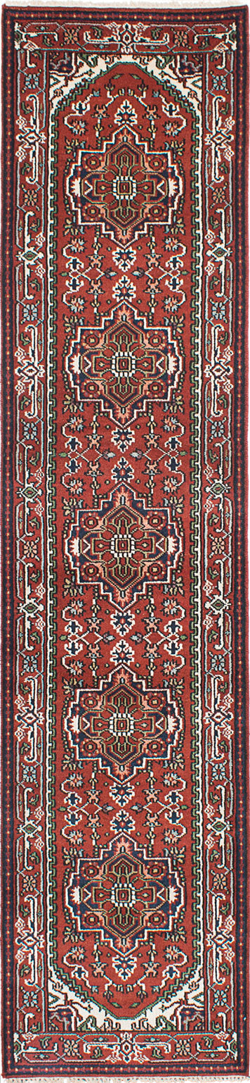 "Hand-knotted Indian Floral  Traditional Serapi-Heritage Runner rug  Dark Red 2'8 x 12'0"" """