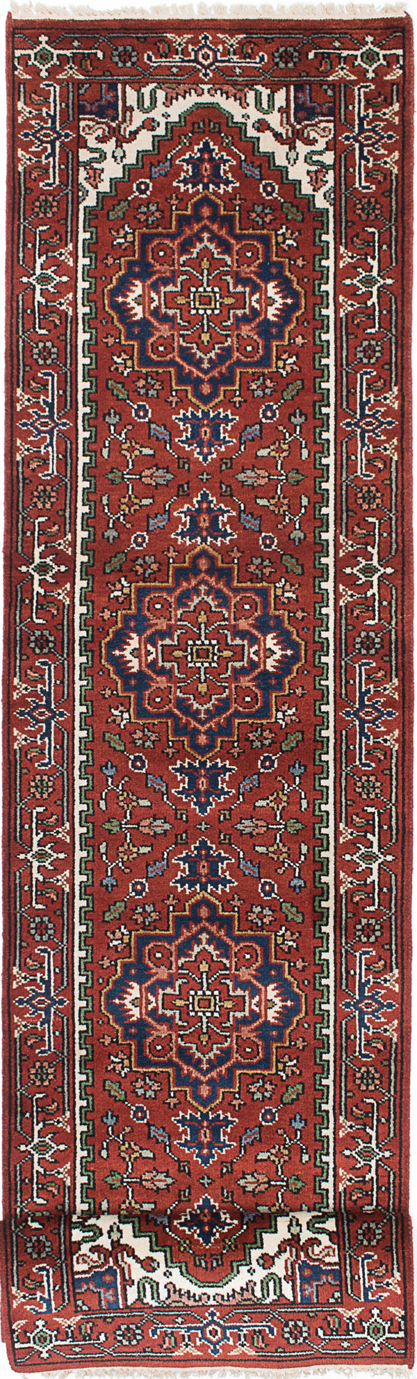 "Hand-knotted Indian Floral  Traditional Serapi-Heritage Runner rug  Dark Orange 2'7 x 10'6"" """